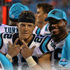CMC & JStew Panthers Football Team, Panthers Memes, Carolina Panthers Football, Football Players, Panther Football, Christian Mccaffery, Nfl Preseason, Luke Kuechly, Panther Nation