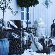 Winter Views on the Sea Seaside Decor, Garden Decor Items, Throw Pillows, Bed, Winter, House, Outdoors, Christmas, Courtyards