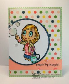 """Bubbles Tia"" digital stamp; sentiment stamp from ""Breakfast Friends"" clear stamp set - Some Odd Girl stamps"
