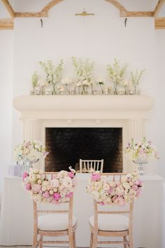 Wedding ceremony with pink peonie chair backs by fairynuff flowers at Northbrook Park in Surrey Photography by Marianne Taylor Modern Wedding Theme, Wedding Fair, Spring Wedding, Elegant Wedding, Wedding Mantle, Wedding Fireplace, Wedding Color Pallet, Wedding Colors, Wedding Flowers