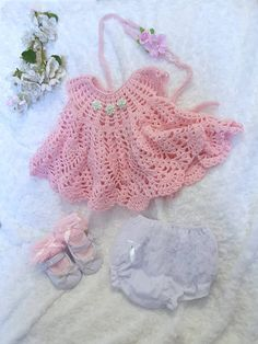 Hand Knit Baby Set Knitted baby clothes Knitted pink dress for