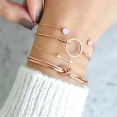 Ivy Sweet Pink Rose Gold Bangle Bracelet