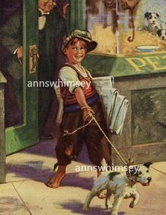"""Vintage Art """"A New Home"""", Puppy Leaves Pet Store With New Owner, Restored Vintage Art - 1940s Print Restored #237 - Two Broads and a Shop"""