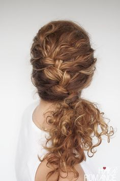 Angled curly side braid