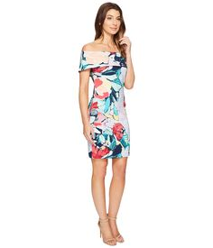 Laundry by Shelli Segal Printed Off the Shoulder Dress Peacoat - 6pm.com