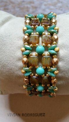 Golden jade #bead weaving #tile bead #rounduo #superduo #cupbutton 4mm czech beads bracelet