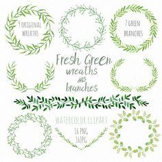 Green Wreaths and Branches watercolor Clipart peinte à la main. Aquarelle…