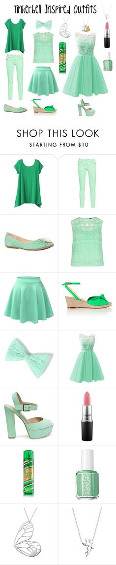 """""""Tinkerbell Inspired Outfits"""" by aechau ❤ liked on Polyvore featuring TravelSmith, French Connection, Karen Millen, Charlotte Olympia, Steve Madden, MAC Cosmetics, Essie and Belk Silverworks"""