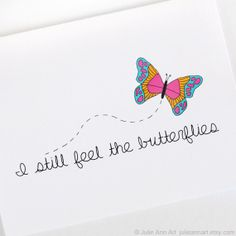 Sweet Valentines Day Card. I Can Still Feel The Butterflies.. $4.00, via Etsy.