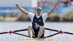 Mahe Drysdale of New Zealand celebrates winning the gold medal for the men's rowing single sculls on Day 7 of the London 2012 Olympic Games at Eton Dorney