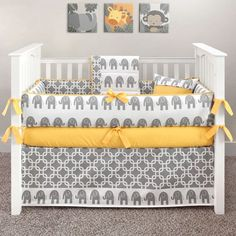 Elephant  grey and yellow Crib Bedding | Yellow Elephant 5 Piece Crib Set
