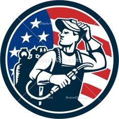 Welder Looking Side USA Flag Circle Retro Vector Stock Illustration Illustration of a welder rod-holder with cable and electrode for electric arc welding and welder visor mask looking to the side with usa american stars and stripes flag in the background set inside circle done in retro style. #illustration #Welder
