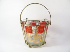 Vintage Red Gold Ice Bucket with Rack  by MonochromeVintage, $18.50