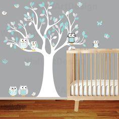 Owl+tree+wall+decal+with+owlsbutterfliesand+by+wallartdesign,+$99.00