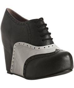 Jeffrey Campbell : black leather tooled 'On-Stage' platform oxfords : style # 312173101