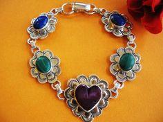 Vintage Heart Link Sterling Silver Bracelet - Multi