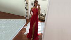 Red Prom Dresses, Custom Long Prom Dress, Best A-line Chiffon Lace Prom ...
