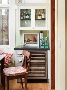 Maximize Space - cabinets are built in but it looks a little like a Hoosier cupboard