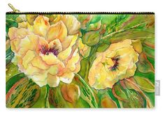 Yellow peony flowers carry-all-pouch. With painting by Sabina von Arx, The pouches are available in three different sizes and with two bottom varieties. Visit my gallery! Peony Painting, Watercolor Paintings, Original Paintings, Yellow Peonies, Yellow Flowers, Art Flowers, Yellow Tree, Flower Artists, Organic Art