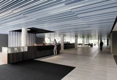 baffle ceiling lindner group 0 Baffle Ceilings from Lindner Group Baffle Ceiling, Metal Ceiling, Interior Fit Out, In Plan, Ceiling Detail, Corporate Design, Sustainable Design, Office Interiors, Blinds