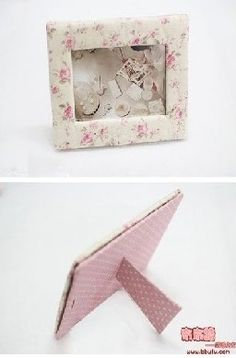 Fabric pictures photo mats and frames on pinterest for Diy fabric picture frame