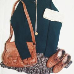 cute autumn outfit. Aside from the skirt being too short.