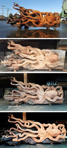 Artist Transforms a Fallen Redwood Tree into A Gigantic Eight-Tentacle Sea Creature