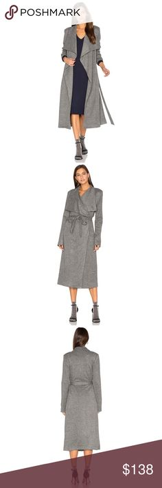JERSEY DUSTER COAT BY OLCAY GULSEN Gorgeous super soft duster coat in jersey. This stylish grey coat in subtle herringbone pattern is lined and definitely keeps you warm. Worn once. Open front belt comes with detachable belt. Size XS. Beautiful and stylish coat.   Self: 50% poly , 49% viscose , 1% elastane Lining: 100% poly. 108 olcay gulsen Jackets & Coats