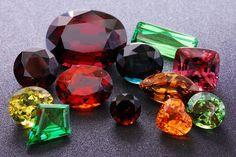 Colorful Garnet Family: Almandite, Blue Garnet, Demantoid, Hessonite, Malaia Garnet, Mali Garnet, Pyrope, Rhodolite, Spessartite, Tsavorite.