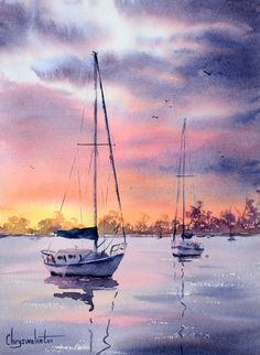 Boats And Sea Chrysovalantou Mavroudis Watercolour Artist - Sailboat Painting Watercolor Watercolor Sunset, Watercolor Landscape Paintings, Watercolor Drawing, Seascape Paintings, Watercolor Illustration, Simple Watercolor, Watercolor Trees, Watercolor Animals, Watercolor Background