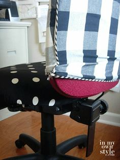 Learn how to cover three different desk chairs in these step-by-step office chair makeover photo tutorials | In My Own Style