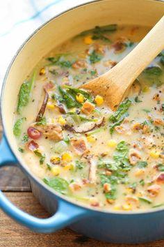 Mushroom, Corn and Bacon Chowder #mushroom #chowder #soup
