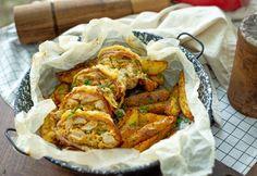 Sajtos-tejfölös-baconös csirkemell őzgerincben sütve Chicken Wings, Cake Recipes, Chicken Recipes, Bacon, Turkey, Cooking, Ethnic Recipes, Food, Kitchen
