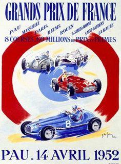 1952 Grand Prix de France F1 Race Ad Fine Art Print
