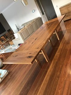 Solid hardwood timber extension dining table