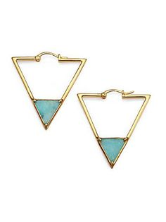 Elizabeth And James ~ Gold And Turquoise Triangle Earrings. Jewelry Box, Jewelry Accessories, Fashion Accessories, Jewelry Design, Triangle Earrings, Hoop Earrings, Stone Earrings, Bling Bling, Estilo Glamour
