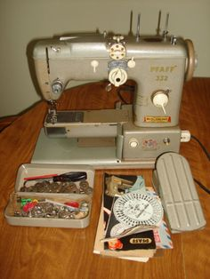 reserved for Ramona - Layaway till dec1 - 1950's Pfaff 332 260 Portable Free-Arm automatic Sewing Machine w/Built-in Embroidery Unit