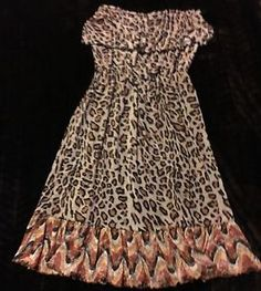 Studio West Apparel Brand Leopard Print Strapless Dress Sz s 100 Polyester | eBay