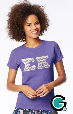 SALE!! CUSTOM Comfort Colors Ladies T Shirt with Greek (Sorority) Letters!! by GoneGreek on Etsy