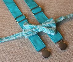 Teal / Turquoise Blue Herringbone Bow Tie and Teal Suspenders set Easter ( Men, boys, baby, toddler, infant Suspender and Bowtie )