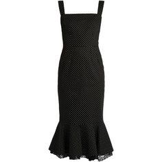 Dolce & Gabbana Polka-dot print stretch-cotton dress (31.790 ARS) ❤ liked on Polyvore featuring dresses, flutter-sleeve dress, white black dress, dot dress, ruffle dress and black and white flare dress