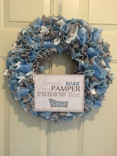 Bathroom wreath, bathroom decor, spa decor, bath lover,  blue wreath, wall decoration, pamper yourself, gift wreath