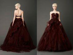 Vestido de novia en color guinda abierto de la espalda - Vera Wang 2013