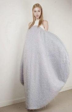 Soft Geometric Fashion - sculptural cocoon dress with bold circular silhouette - 3D shape & volume; wearable art // Min Kim