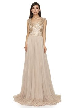 Figure-flattering style reigns supreme on this softly romantic Oscar evening dress by Vero Milano. The delicately ruched surplice bodice culminates in a Nice Dresses, Prom Dresses, Formal Dresses, Beige Evening Dresses, Trendy Outfits, Fashion Outfits, Luxury Dress, Designer Gowns, Dresses Online