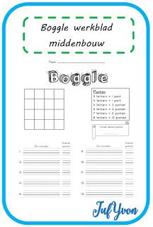JufYvon: Boggle werkblad midden- en bovenbouw Boggle, Classroom Language, Home Schooling, Spelling, Circuit, Vocabulary, Therapy, Letters, Teaching