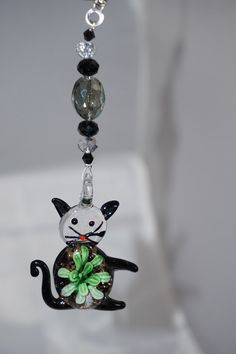 Black and Green,  Lampwork Glass, Cat Pendant,  Crystal Fan Pull,  Black Crystal,   Promo Code by EarthDreamsbySunLi on Etsy