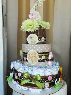 Classic Pooh Bear Theme Diaper Cake. via Etsy.