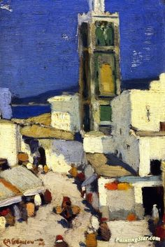 Great Mosque, Morocco Artwork by Clarence Gagnon Hand-painted and Art Prints on canvas for sale,you can custom the size and frame