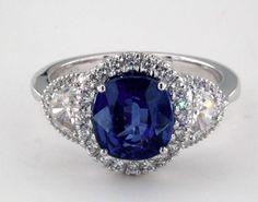 James Allen 18K White Gold 3.12ct Cushion Shape Blue Sapphire Engagement Ring